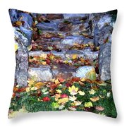 Fall Stairway Throw Pillow