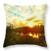 Fall Sunset At Lake Murray San Diego Throw Pillow