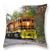 Fall Train In Color Throw Pillow by Rick Morgan