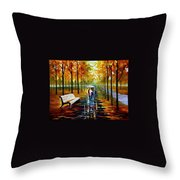 Fall  White Umbrella Throw Pillow