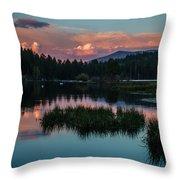Fallen Leaf Sunset Serenity Throw Pillow