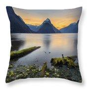Fallen Logs Milford Sound Throw Pillow