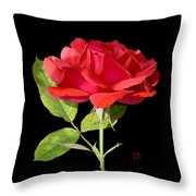Fallen Red Rose Cutout Throw Pillow