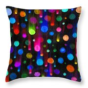 Falling Balls Of Color Throw Pillow