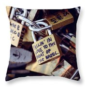 Falling In Love To The Beat Of The Music, Love Lock Throw Pillow
