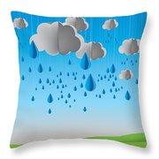 Falling Rain Throw Pillow