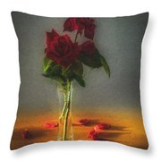 Falling Red Petals Throw Pillow