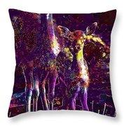 Fallow Deer Doe Fawn Hirsch Young  Throw Pillow