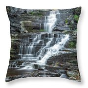 Falls Creek Gorge Trail Ithaca New York Throw Pillow