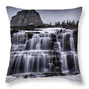 Falls In Glacier 1 Throw Pillow