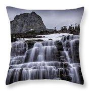 Falls In Glacier Throw Pillow
