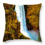 Falls Of The Yellowstone Throw Pillow