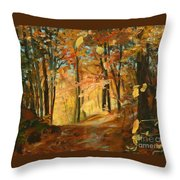 Fall's Radiance In Quebec Throw Pillow