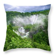 Falls Through The Fog - Plitvice Lakes National Park Croatia Throw Pillow