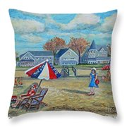 Falmouth Heights Beach On A Fall Afternoon Throw Pillow