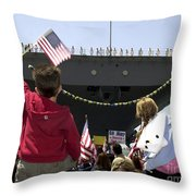 Family And Friends Wait To Welcome Home Throw Pillow by Stocktrek Images