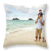 Family At Lanikai I Throw Pillow by Brandon Tabiolo - Printscapes