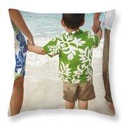 Family At Lanikai II Throw Pillow by Brandon Tabiolo - Printscapes