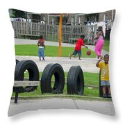 Family At Play Throw Pillow