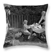 Family Bbq, C.1960s Throw Pillow