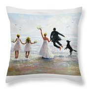 Family Beach Wedding Throw Pillow