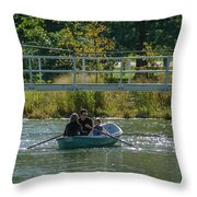 Family Boating If Forest Park Throw Pillow