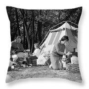 Family Camping, C.1970s Throw Pillow