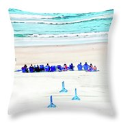 Family Day At Beach Throw Pillow