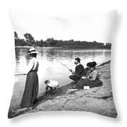 Family Fishiong Throw Pillow
