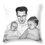 Family In Pointillism Throw Pillow