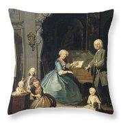Family Group Near A Harpsichord, 1739 Throw Pillow