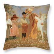 Family Group With Cow Throw Pillow