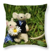 Family Mouse On The Spring Meadow .1. Throw Pillow