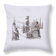 Family Moving With Sled Historical Vignette Throw Pillow