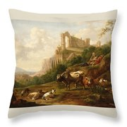 Family Of Herdsmen And Their Cattle Throw Pillow