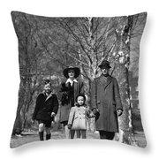 Family Out Walking On A Wintry Day Throw Pillow