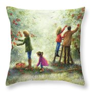 Family Picking Apples Throw Pillow