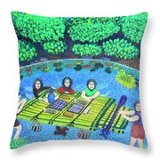 Family Picnic In Palau Throw Pillow