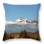 Family Portrait - Mount Shasta And Shastina Northern California Throw Pillow