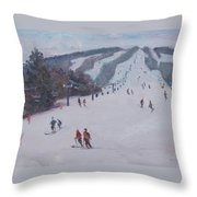 Family Ski Throw Pillow