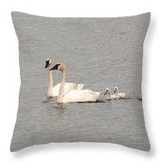 Family Swim Throw Pillow