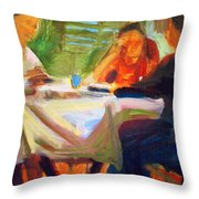 Family Talk At The Table Throw Pillow