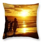Family Walk On Beach Throw Pillow