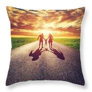 Family Walk On Long Straight Road Towards Sunset Sun Throw Pillow