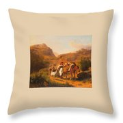 Family With Animals Throw Pillow