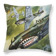 Famous Aircraft And Their Pilots Throw Pillow