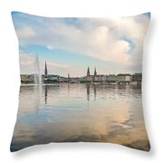Famous Binnenalster In Hamburg Downtown At Sunset Throw Pillow