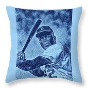 Famous Jackie Robinson Throw Pillow