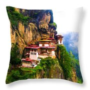 Famous Tigers Nest Monastery Of Bhutan 11 Throw Pillow