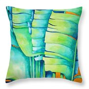 Fan Palm With Orange 2 Throw Pillow